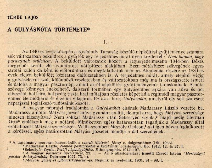 Terbe Lajos cikke az Irodalomtörténeti közlemények 1956/4. számából