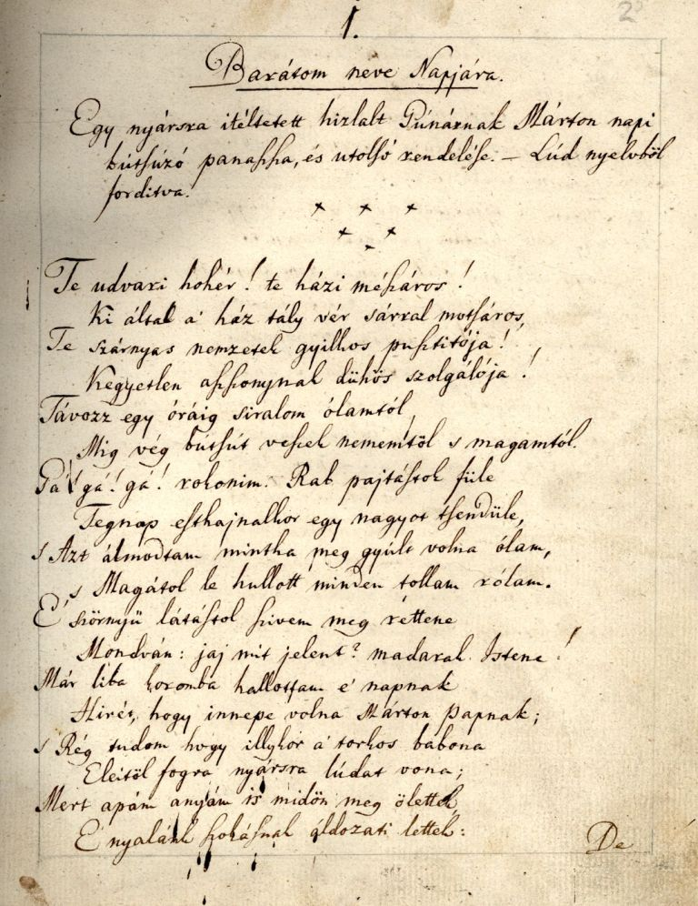 Mátyási József egyik alkalmi verse, Márton-napra