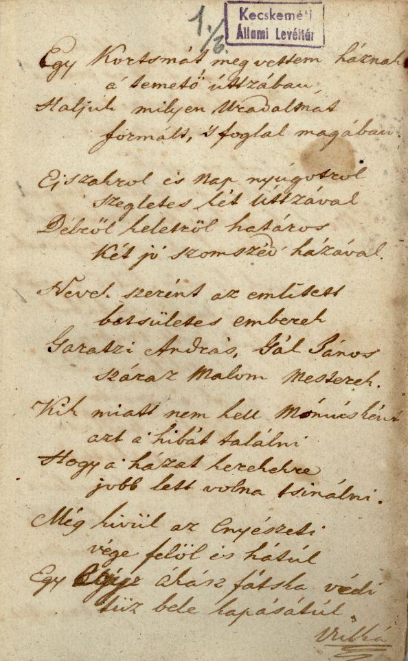 A Viskói uradalom című mű kézirata