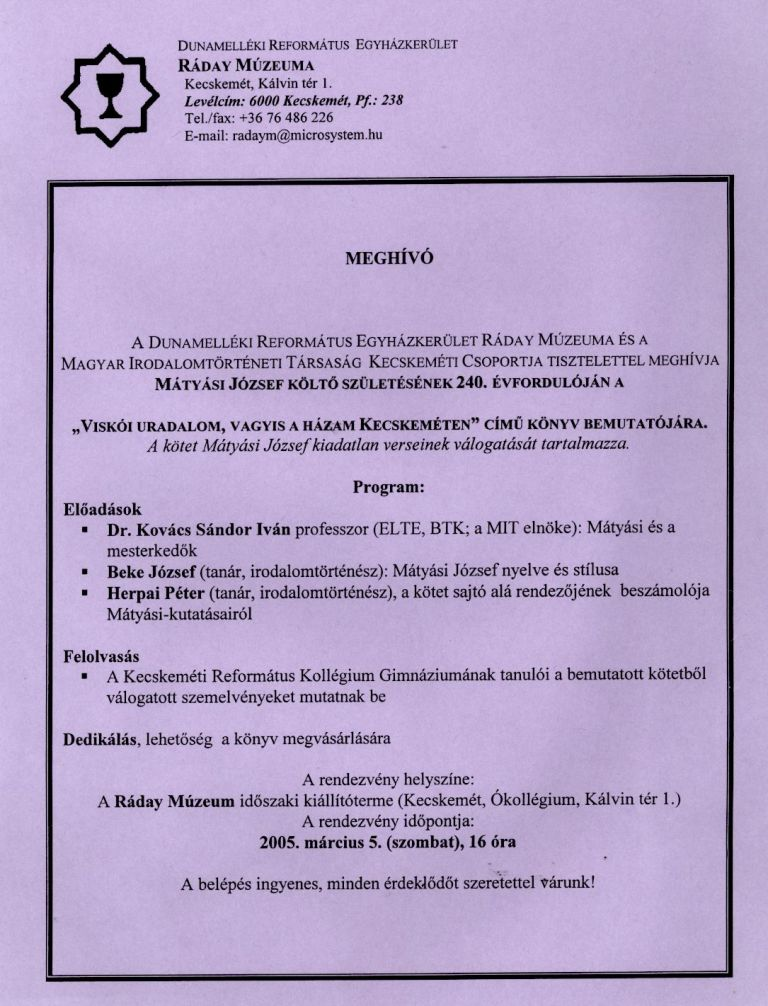 A könyvbemutató meghívója 2005. március 5.