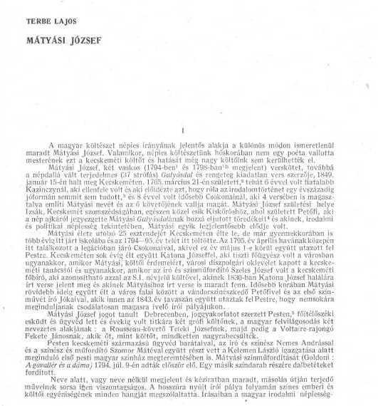 Mátyási József / Terbe Lajos In: Irodalomtörténeti közlemények. - 59. évf. 3.sz. (1955), p. 305-318.