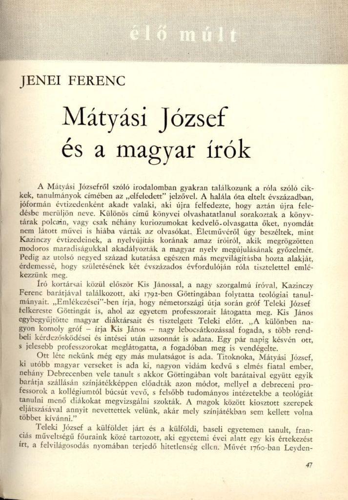 Mátyási József és a magyar írók / Jenei Ferenc