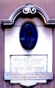 Mátyási József 1943-ban felavatott emléktáblája
