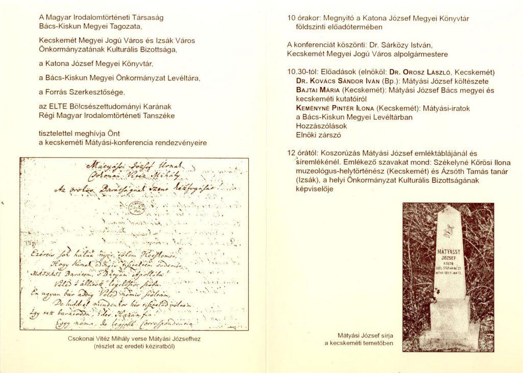 Tudományos konferencia Mátyási József halálának 150. évfordulóján