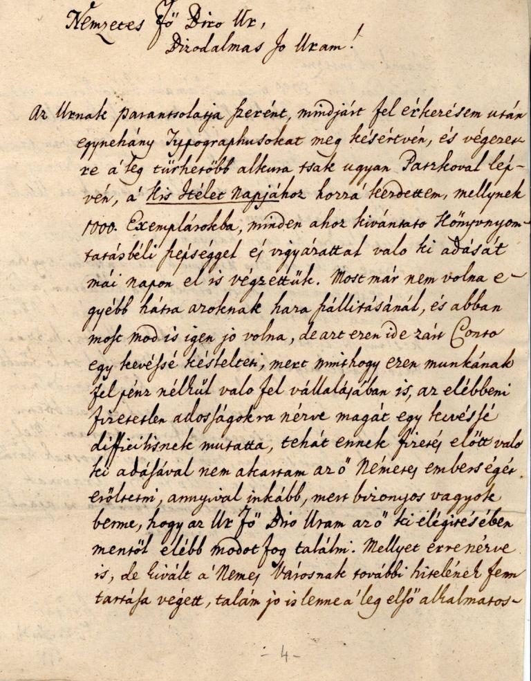 Mátyási József 1795. márciusi levele Kecskemét főbírájához.