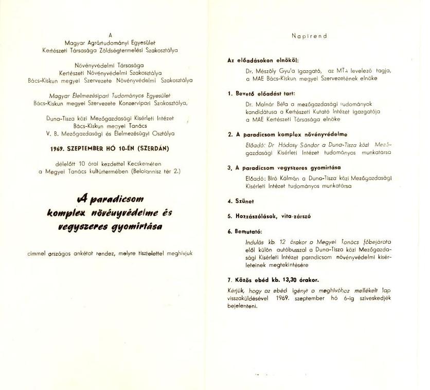 A paradicsom komplex növényvédelme és vegyszeres gyomirtása - ankét - 1969.