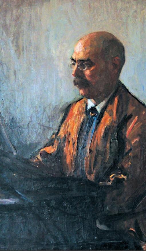 Henrik Moór: Moór Emánuel a zongoránál (olajfestmény)
