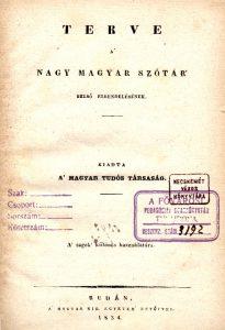 Terve a nagy magyar szótár...
